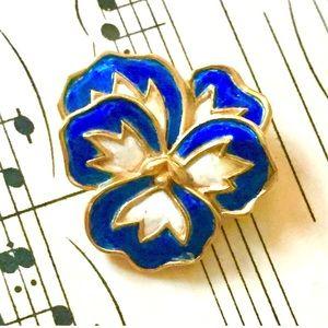 CROWN TRIFARI Blue Enameled Pansy Brooch